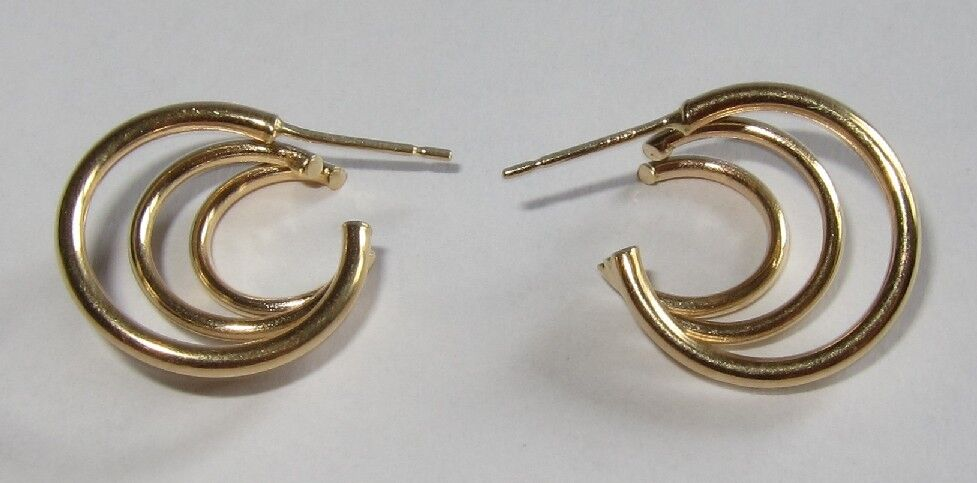 14K 14kt yellow gold Spiral curly cue swirl hoops earrings 1.3 gram