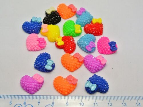 50 Mixed Color Flatback Resin Heart with Bows Dotted Rhinestone Cabochon 18X15mm