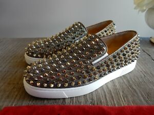 98f59380bf8 Details about $1295 Christian Louboutin Roller Boat Slip-On Spike Roche  Sneakers shoes 37.5/38
