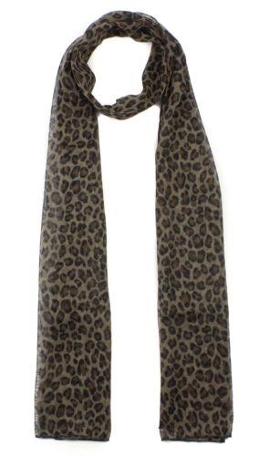 Donne Lady lungo classico Leopardo Animale Motivo Stampato sciarpa in Chiffon Scialle