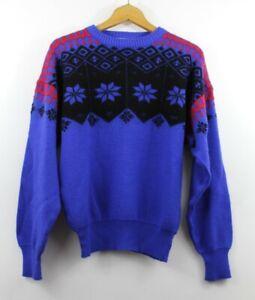 SALE Vintage Meister Nordic Ski Sweater Wool Blend Snowflake Large Black Red
