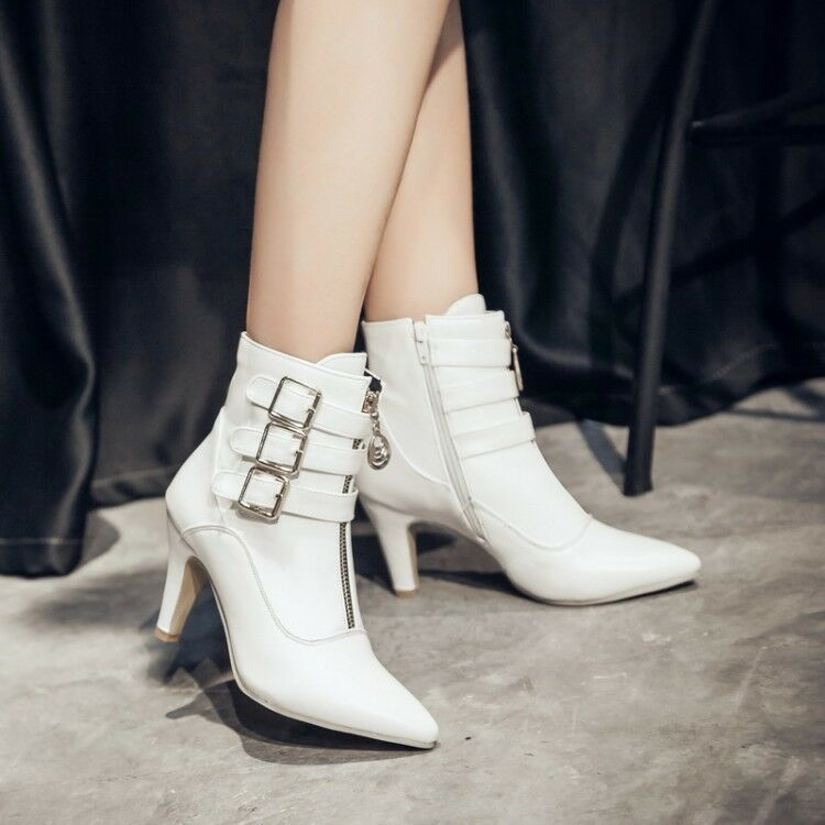 Women High Stiletto Heel Front Zipper Ankle Boots Pointed Toe Party Shoes Fashio