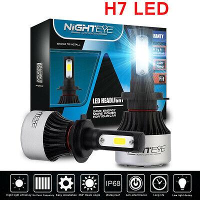 UK Nighteye H7 COB LED Headlight Bulbs 72W 9000LM Car LED Bulb Lamps 6500K White