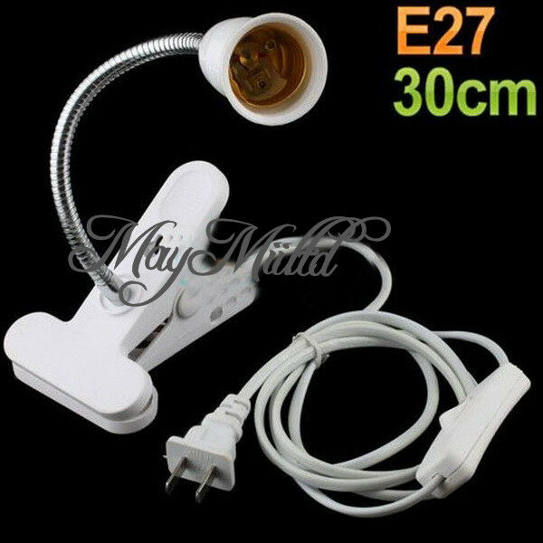 1PC Flexible E27 LED Lamp Holder On off Switch 30Cm Power Cable Cord Clip J