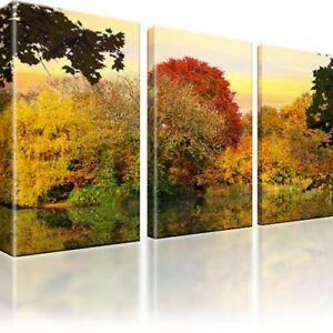 wald see herbst bilder auf leinwand fotodruck dreiteilige wandbilder ebay. Black Bedroom Furniture Sets. Home Design Ideas