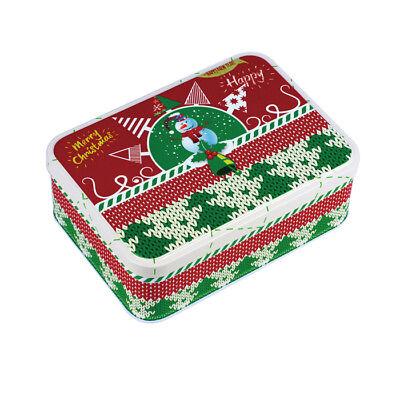 Laborioso Scatola Di Latta Rettangolare Regalo Buon Natale Babbo Natale Renna Pupazzo Di Neve Motivo Cartoni Animati-