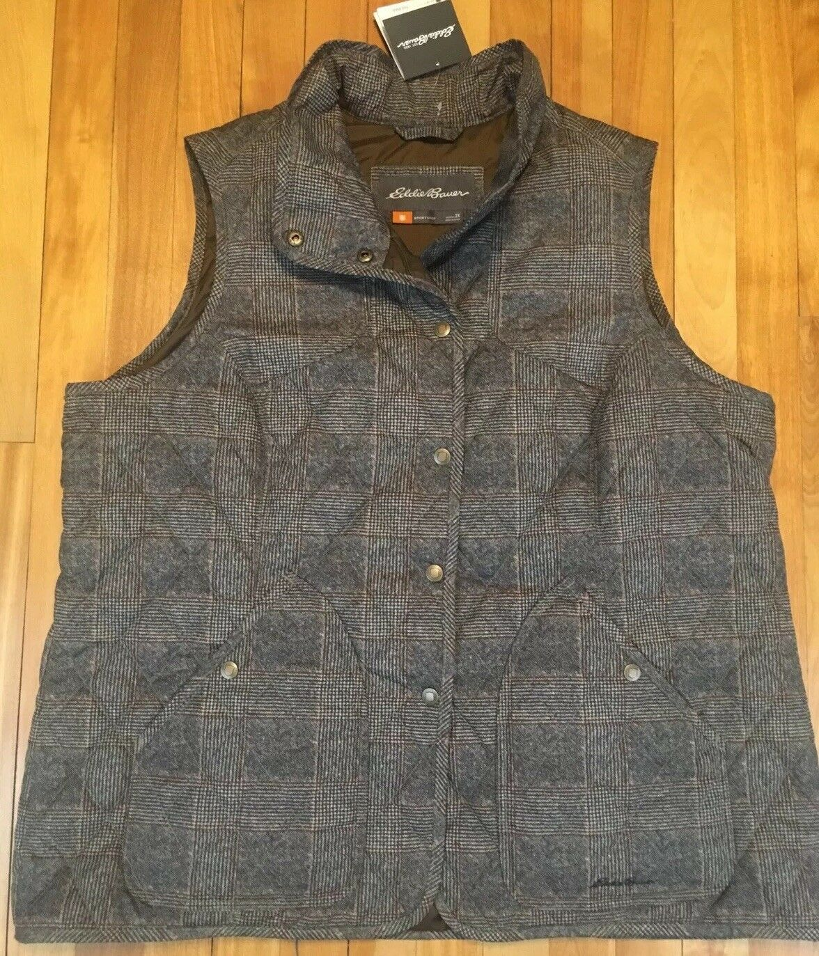 Eddie Bauer Thermafill Brown Quilted Snap Vest 2XL New With Tags Msrp