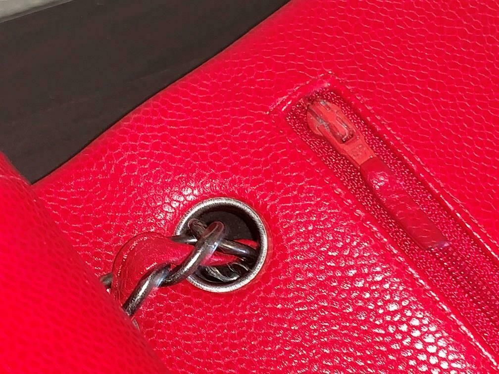 Authentic Chanel Classic Jumbo Red Caviar Double … - image 8