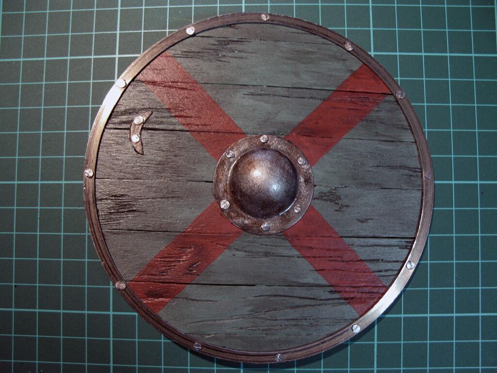 1 6 scale Vikings Rollo shield - handmade - wood and metal