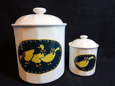 GOOSE CANISTER SET of 2 Black White Duck Ceramic Cookie Jar Tea Bag Storage