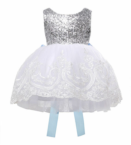 Flower Girl Tutu Dress Kids Baby Sequin Princess Party Wedding Prom Birthday Bow