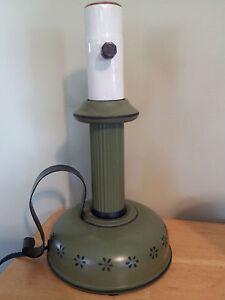 Vintage-Toleware-Candlestick-Lamp-Light-Avocado-Green