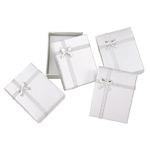 12pcs Silver Rectangle Cardboard Jewelry Pendant Necklaces Gift Boxes 9x7x3cm