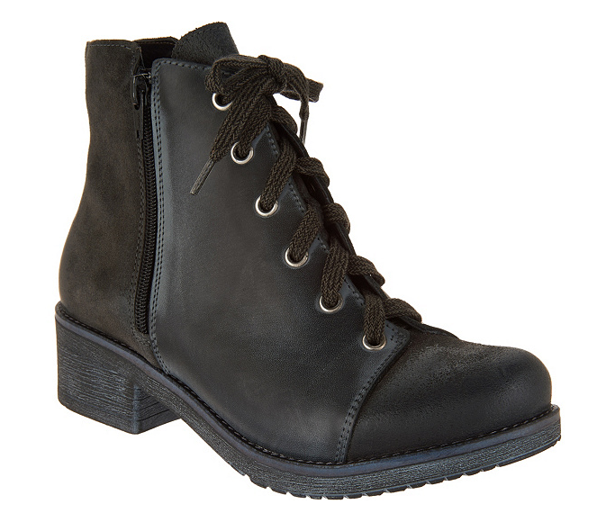 Naot Leather Leather Leather and Suede Lace-up Ankle bottes Groovy Midnight Oil EU 42 US 11-11.5 b54e02