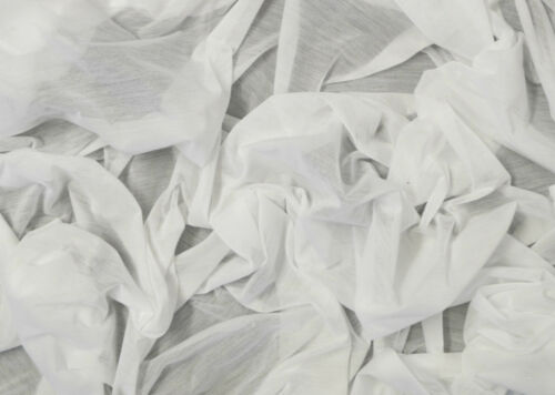 """WHITE JERSEY TRANSPARENT FABRIC NATURAL STRETCH 64/""""//160CM WIDTH BY THE METRE"""