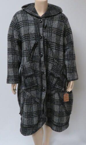black italiano e in acrilico Xxxl dimensioni cappuccio le di con plaid completamente Cappotto lana grigio loro wIBzWa