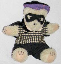 "Plush Sitting Tan 8"" Teddy Bear w Wearing Gigham Shirt Black Cape & Mask"