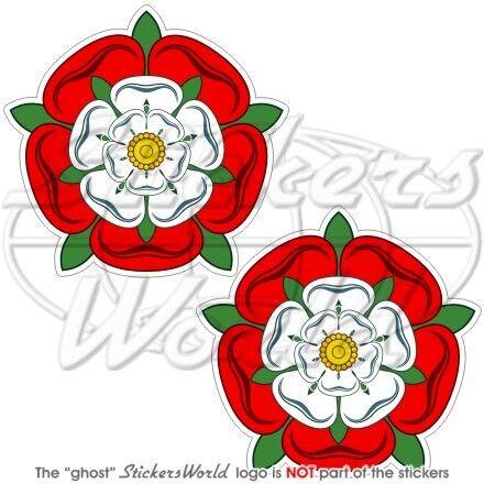 "3/"" Decal x2 TUDOR ROSE of England UK English Flower British 75mm Vinyl Sticker"