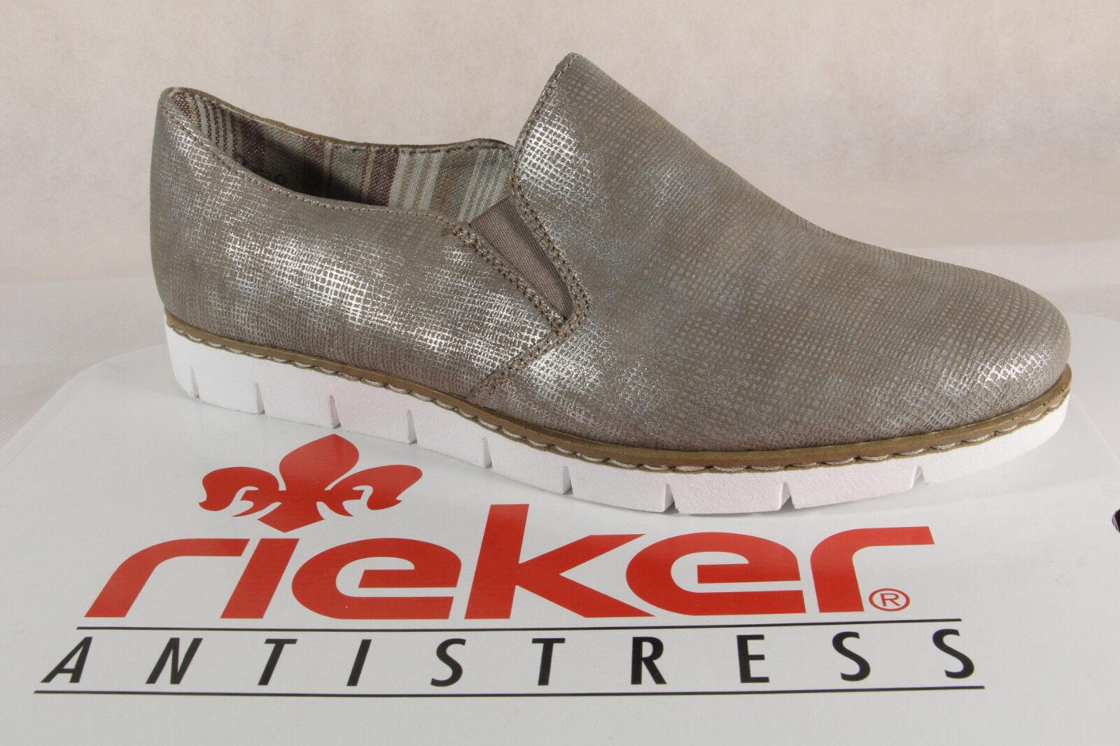 Rieker Mocassins Femme Escarpins chaussures Basses Ballerine Bronze,M1354 Neuf