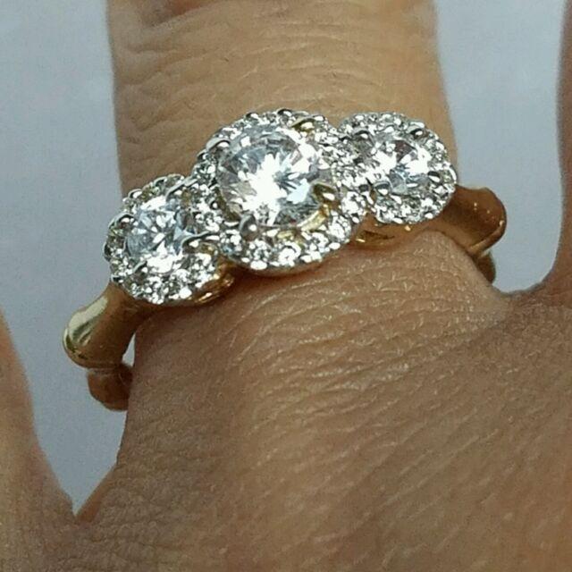 1 25 Carat 10k Yellow Gold 3 Stone Halo Round Engagement Wedding