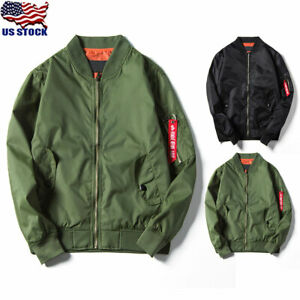 Mens-Bomber-Jacket-Winter-Flight-Military-Air-Force-Waterproof-Zip-Coats-Outwear