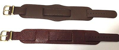 CONDOR Military Leather burgundy & Brown Watch Strap 18mm GENUINE LEATHER