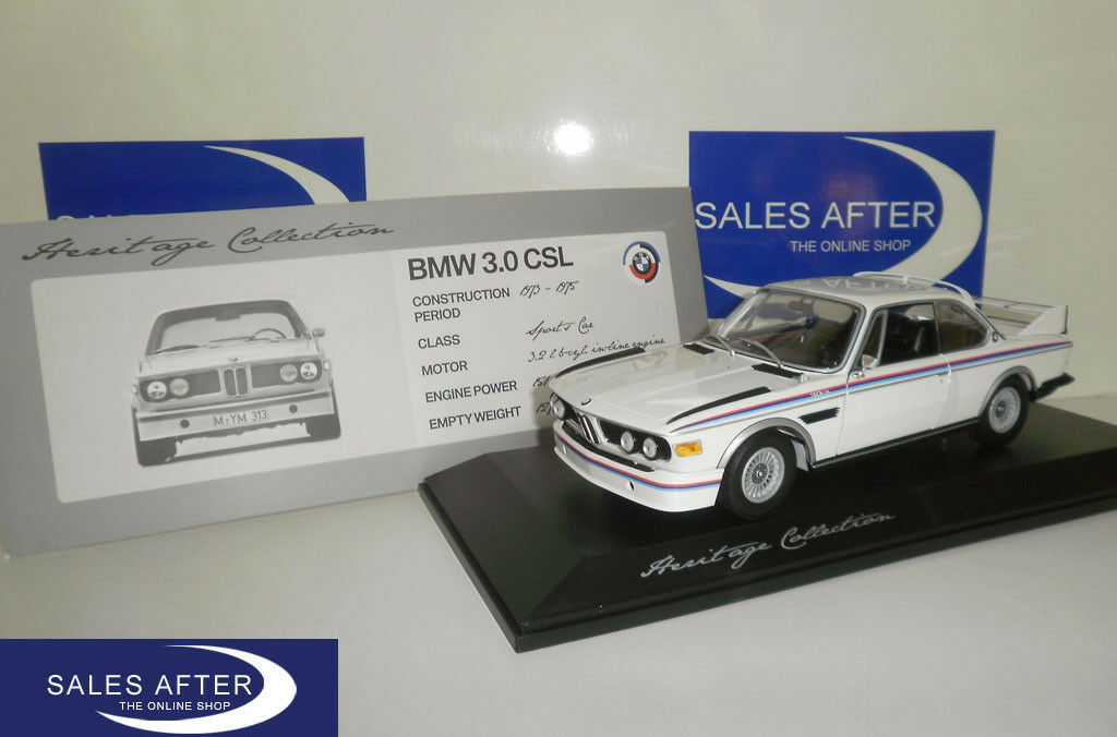 ORIGINALE miniatura BMW e9 3.0 CSL CSL CSL Heritage Collection 1:18 modello di auto 3.0csl 0a92e1