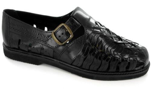 Mens Interlaced Weaved Leather Upper Smart Shoe Sandals Evening Closed Toe Black
