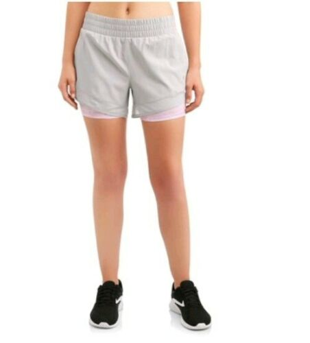 Women/'s Gray Sports Shorts by Avia Lined and Racer Cut Elastic Waist Small.4-6