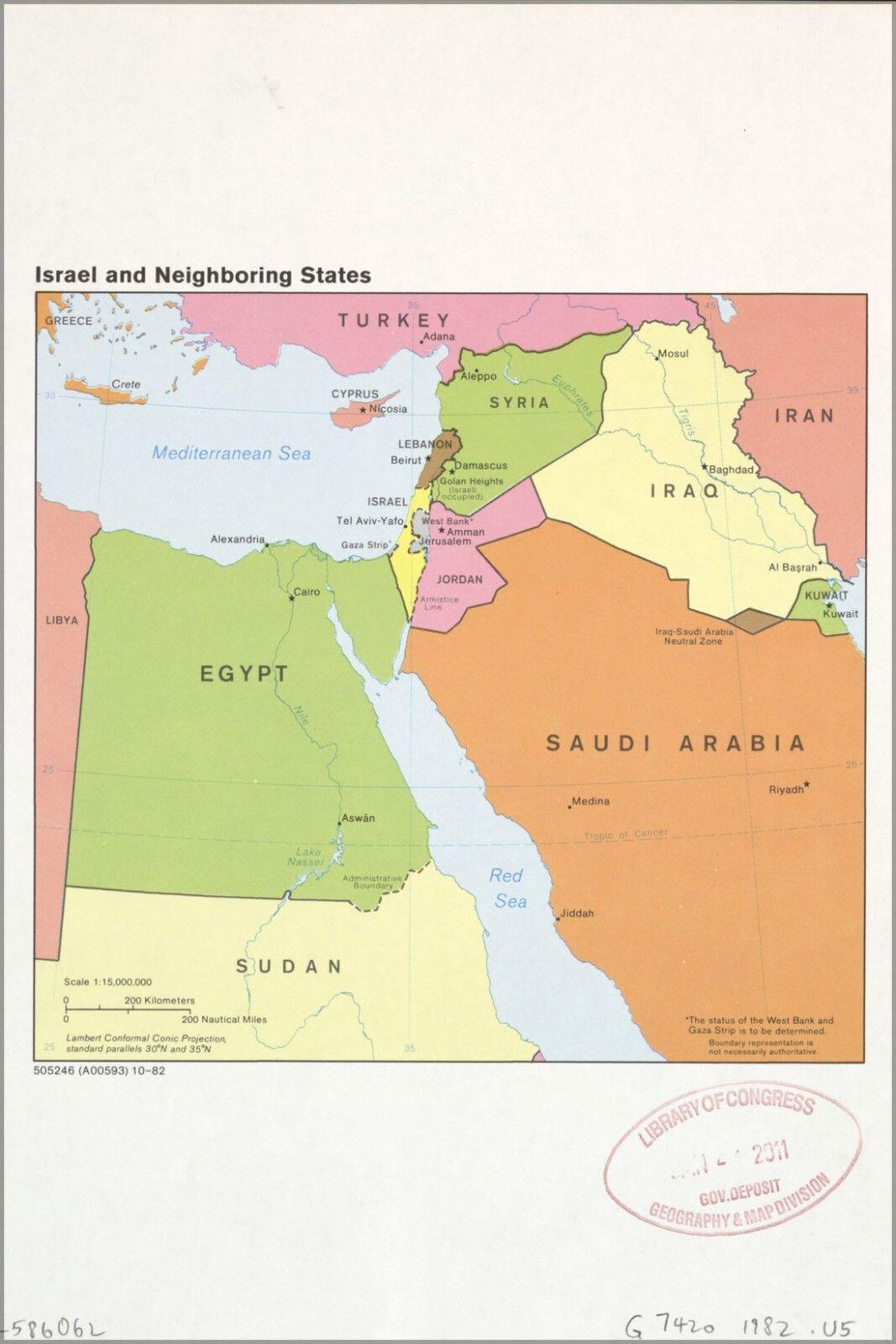 Plakat, Viele Größen; Cia Karte von Israel und Gehendes Staaten 1982