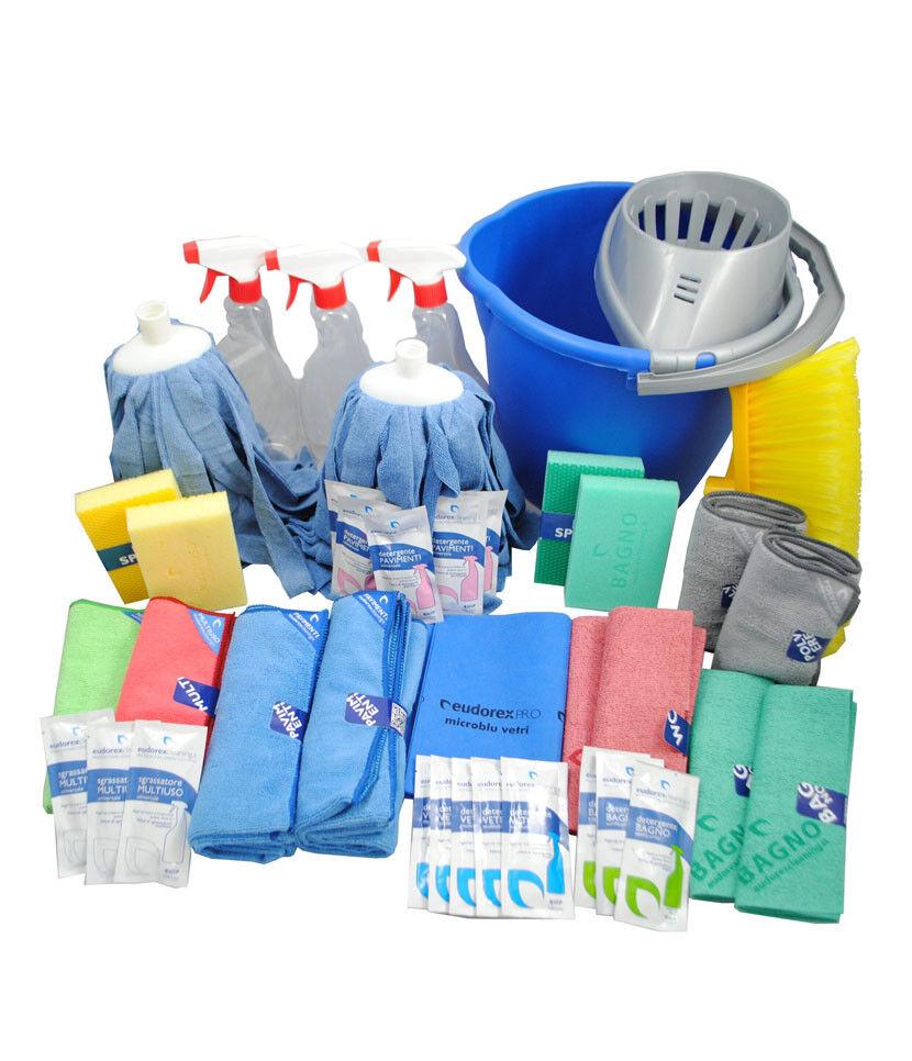 38 Pezzi Kit Pulizia Professionale Detersivo Concentrato Confezione Eco Eudorex