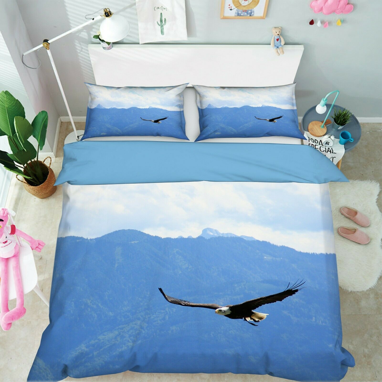 3D Eagle Flying Sky I23 Animal Bed Pillowcases Quilt Duvet Cover Queen King An