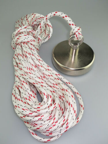 Magnet fishing rope 20m 8mm braided rope with eyesplice rated 2300Kg