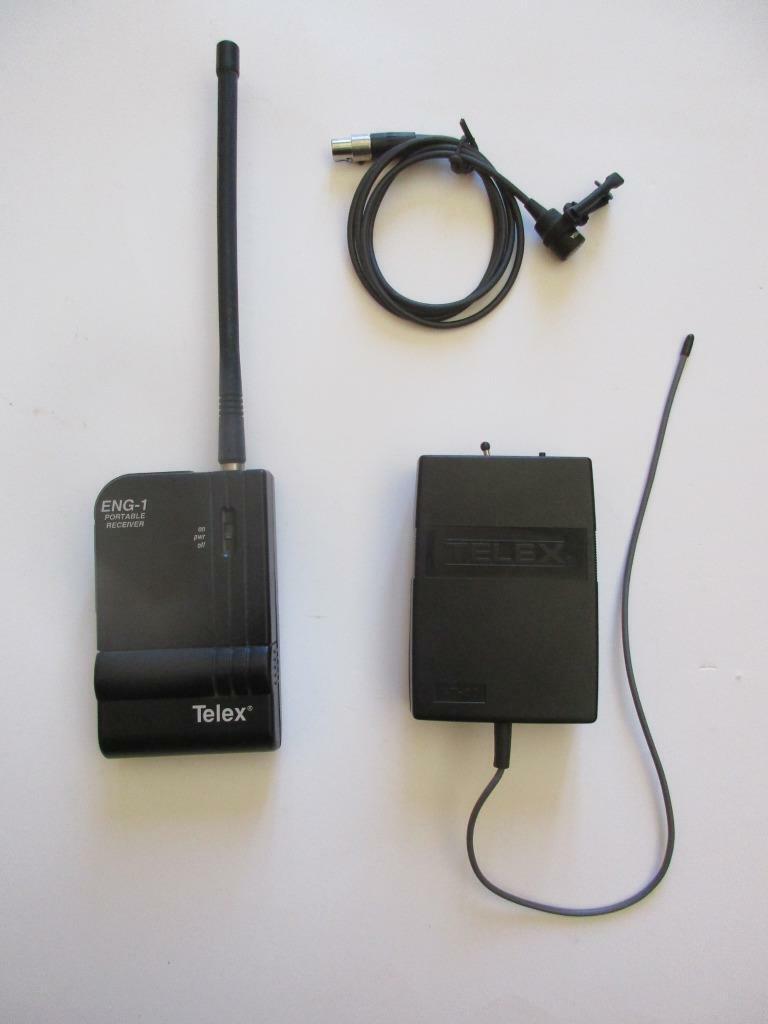 TELEX Wireless ENG-1 Portable Receiver WT-55 Belt Pack Transmitter Mic 169.505