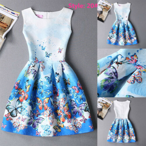 UK Parent-Child Outfit Mother Daughter Womens Girls Print Casual Party Dress