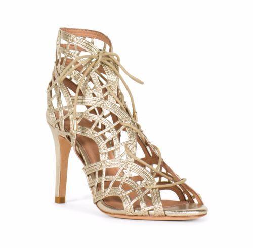 JOIE WEISS Gold Leah Lace Front Caged Woven Leder Heel Pump Schuhe NIB  9.5