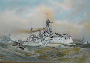 GERMAN-NAVY-Brandenburg-Squadron-at-High-Seas-1899-SUPERB-Color-Print