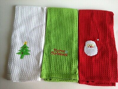 Christmas Holiday Rooster Waffle Weave Kitchen Towel