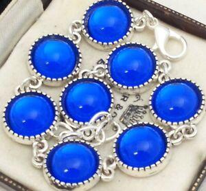 Vintage-1970s-CZECH-Royal-Bristol-Blue-Mirror-Glass-Cabochon-Bracelet-12mm