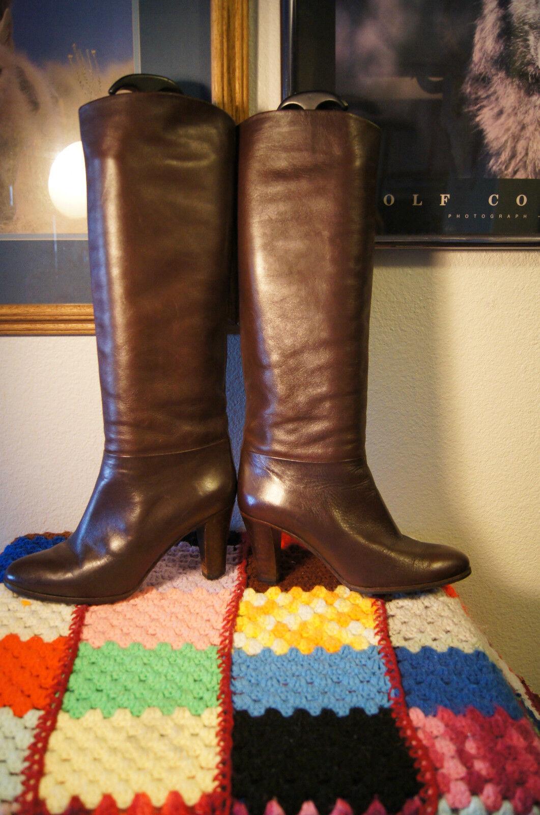 Hana Mackler boots 8 Braun Soft Leder Knee Length Stiefel 8 italian boots 8 b