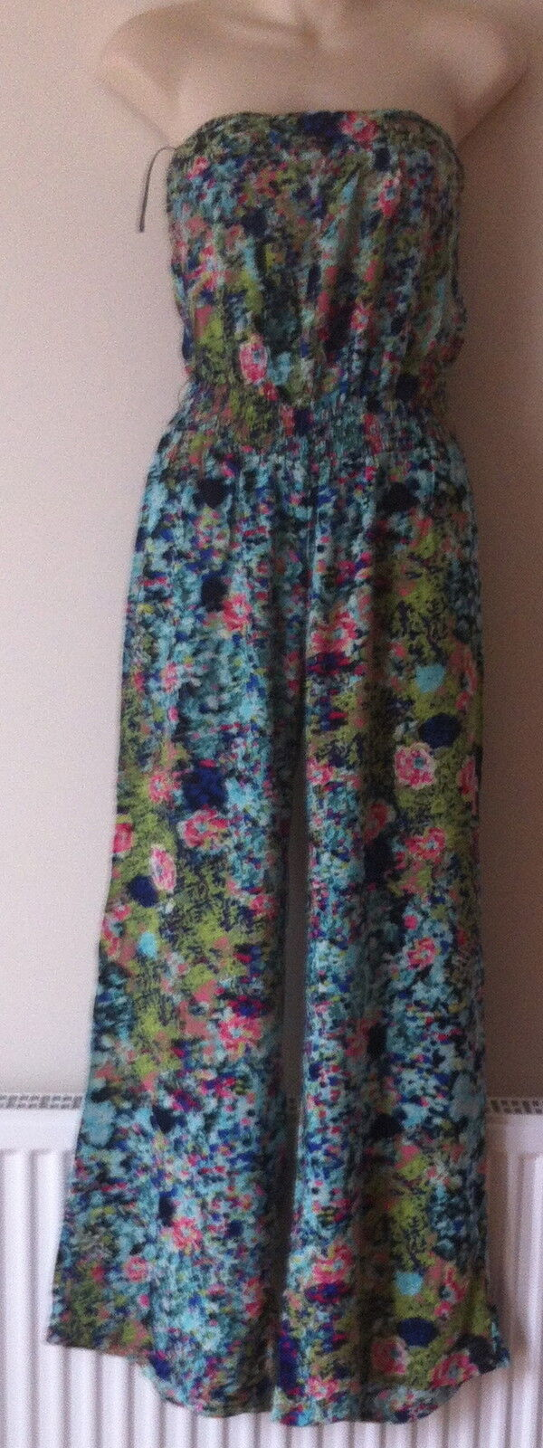BNWT NEXT NEW  summer Ladies FLORAL WIDE LEG  BOOBTUBE jumpsuit  6 PETITE NEXT