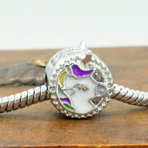 Fashion European 1pcs Silver CZ Charm Beads Fit 925 Necklace Bracelet Chain DIY