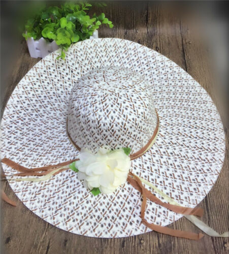 Women Lady Wide Brim Derby Cap Floppy Foldable Summer Beach Sun Travel Straw Hat