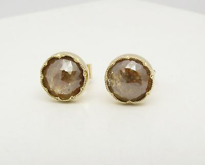 14k Solid Yellow Gold Rustic Raw Diamond Stud Earrings Genuine 1 45ct Round New Ebay