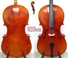 Rare Cello!Master's Craftsamship!Montagnana Cello Model!Wide Body!Oil Varnish
