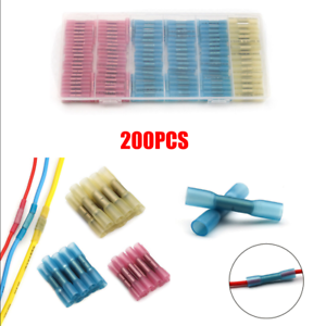 200X AWG 22-10 Heat Shrink Butt Elec Wire Splice Cable Crimp Terminal Connector