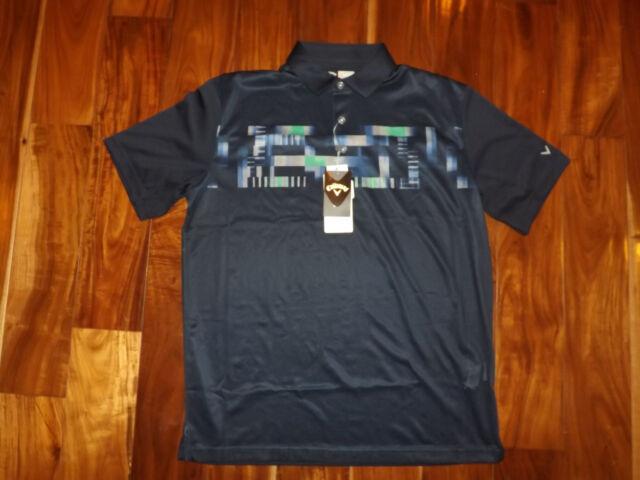 NWT Mens CALLAWAY Short Sleeve Peacoat Navy Blue Opti-dri Stretch Polo Shirt L