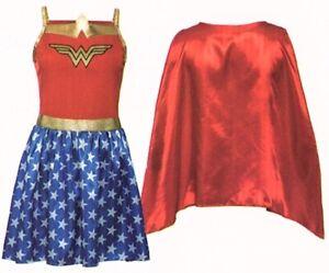 Wonderwoman-Kostuem-zweiteilig-S-36-38-Superheldin-Fasching-Karneval-Halloween