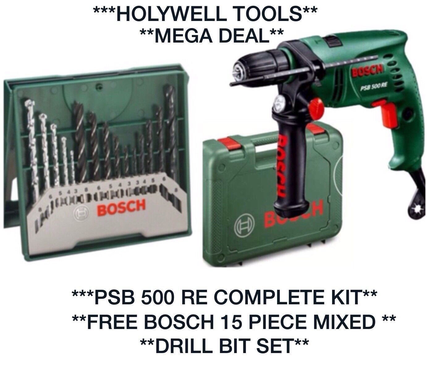 bosch psb 500 re hammer drill with 15-piece x-line accessory set | ebay