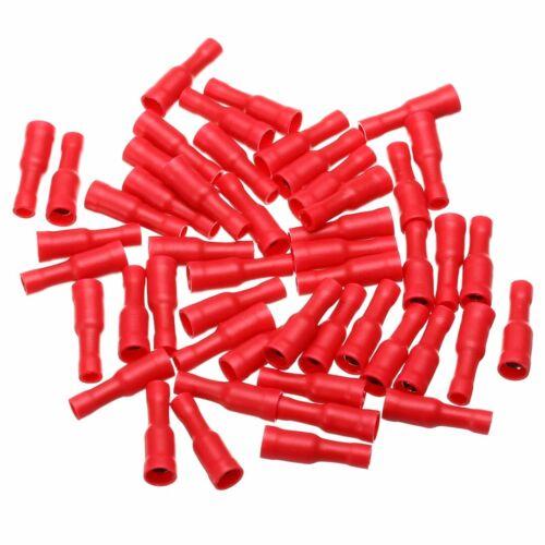 100 Stk Rundsteckverbinder für Kabel 0,5-1,5mm² Rot Kabelschuhe Steckverbinder